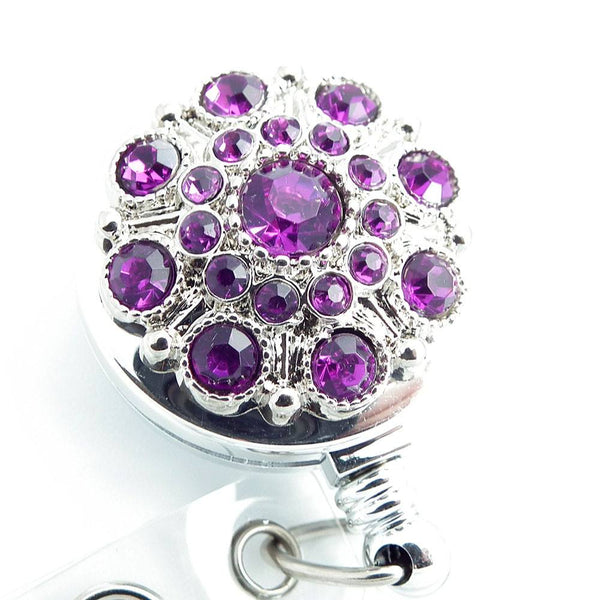 Dark Red Purple Rhinestone Badge Holder - Retractable Badge Reel 260 - Plum Beadacious