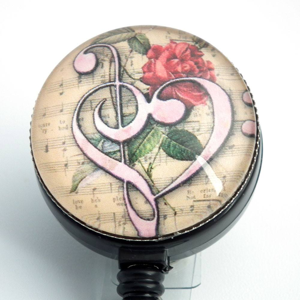 Music Retractable ID Badge Reel - Bass Clef -Name Badge Holder 249 - Plum Beadacious
