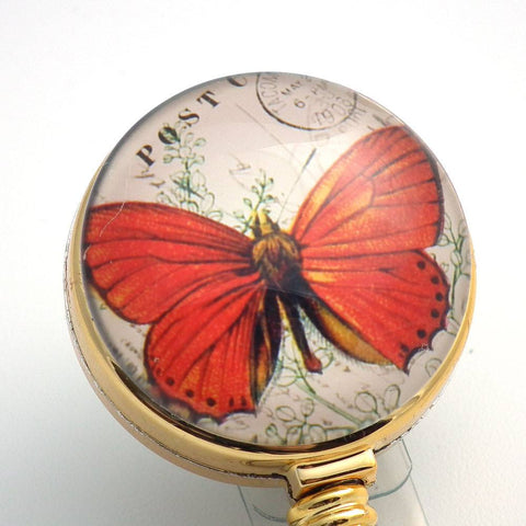 Orange Butterfly Badge Reel - Name Badge Holder 184