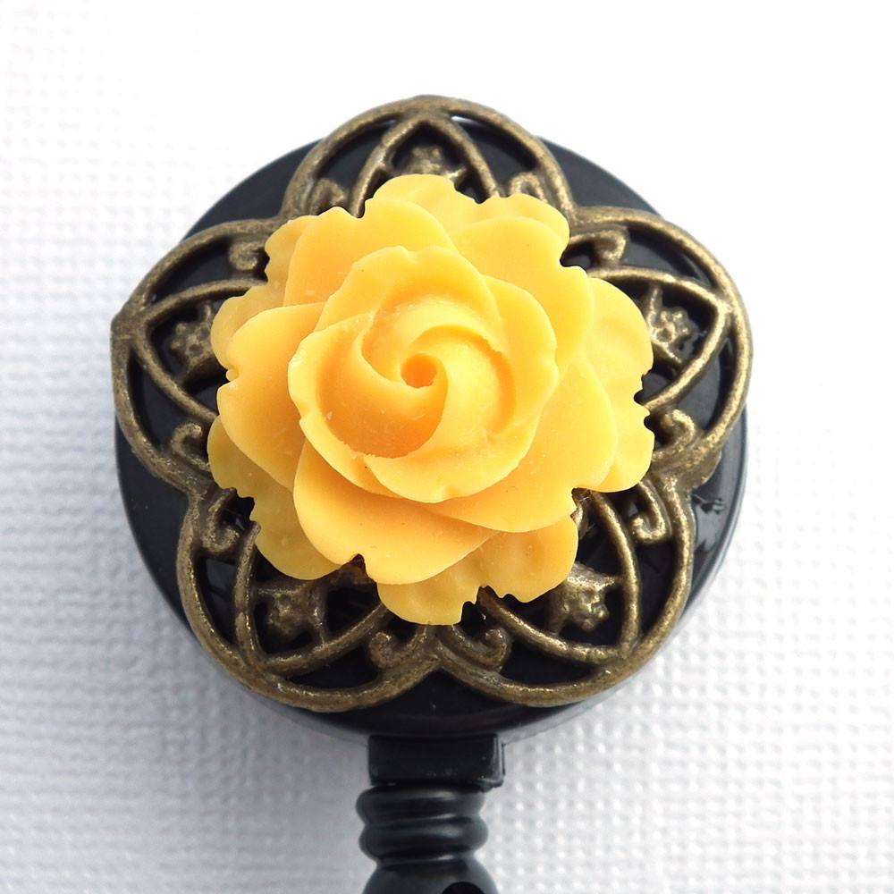 Bright Yellow Rose on Antiqued Brass Flower Badge Reel - Name Badge Holder - Pretty ID - Clear Badge Reel - Magnetic or Clip On Badge Reel - Plum Beadacious
