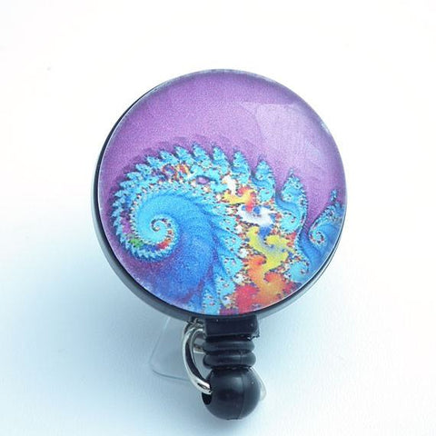 Psychedelic Swirls Blue Orange on Purple Cabochon Retractable Badge Reel 149