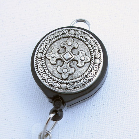 Antiqued Silver Cross on Black Lanyard Badge Reel with Belt Clip