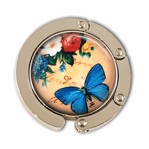 Blue Butterfly with Flowers Photo Glass Cabochon, Purse Hanger - Plum Beadacious