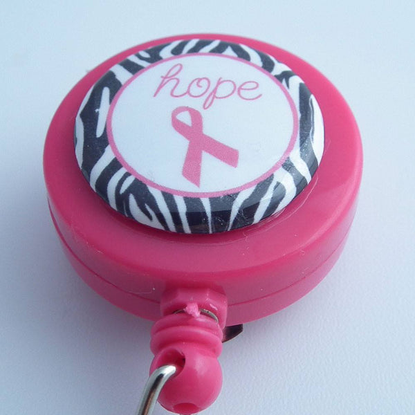 Breast Cancer Awareness Hope on Pink ID Badge Reel - 309 - Plum Beadacious  - 2