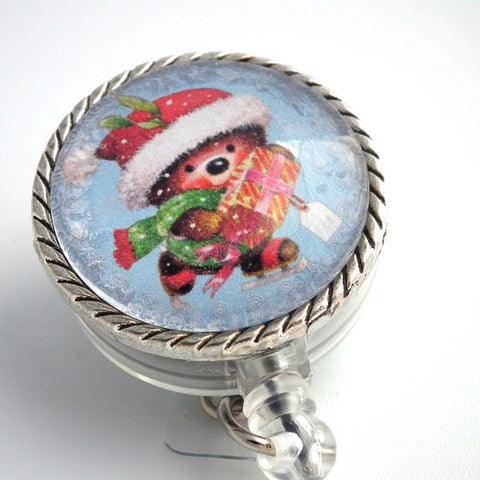 Christmas Teddy Bear Badge Reel - Retractable ID Badge Holder 167