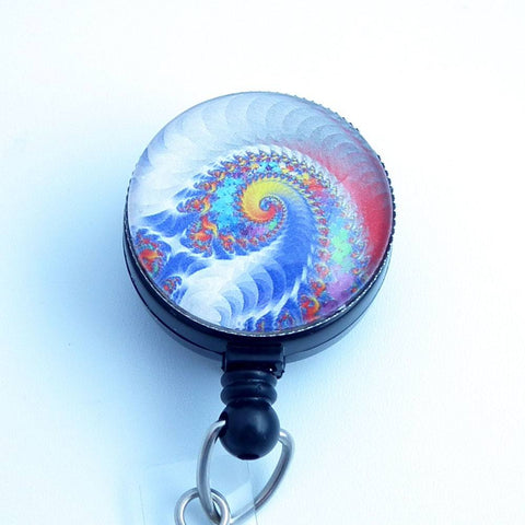 Psychedelic Swirls Whipped Cream Rainbow - Retractable Badge Reel 227
