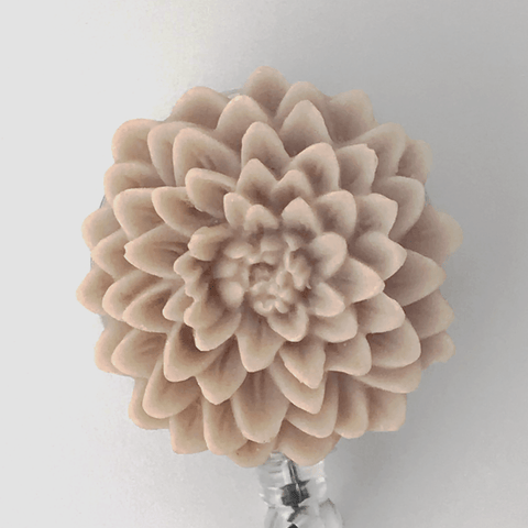Lavender Fog Chrysanthemum Flower Badge Reel - Resin Flower Cabochon on Retractable Badge Holder 357 - Plum Beadacious