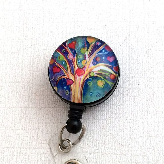 ID Badge Reel Heart Tree on Black, Name Badge Holder 180 - Plum Beadacious