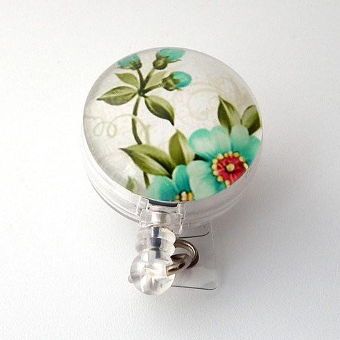 Light Blue Blossoms Flower Badge Reel, Retractable ID Badge Holder, Name Badge Reel 271