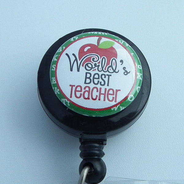 Retractable ID Badge Reel - World's Best Teacher -  Black Teacher Badge Reel - Plum Beadacious  - 1