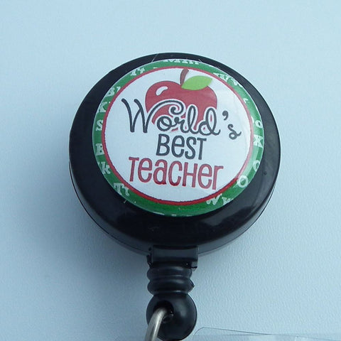 Retractable ID Badge Reel - World's Best Teacher -  Black Teacher Badge Reel