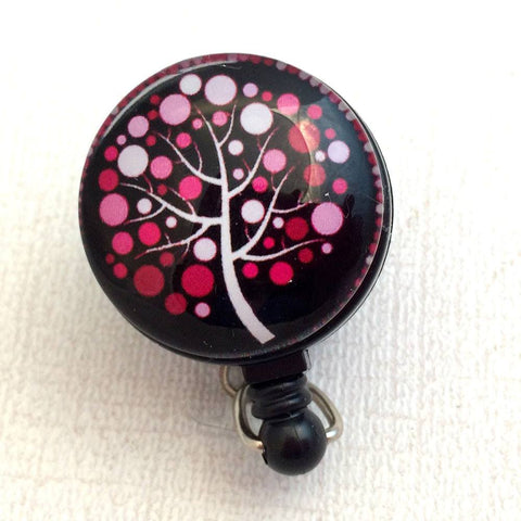 Red and Pink Tree of Life on ID Badge Reel - Name Badge Holder 179 - Plum Beadacious