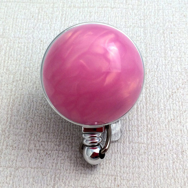 Magnetic Retractable ID Badge Vintage Pink Domed Button on Chrome Badge Reel - Plum Beadacious
