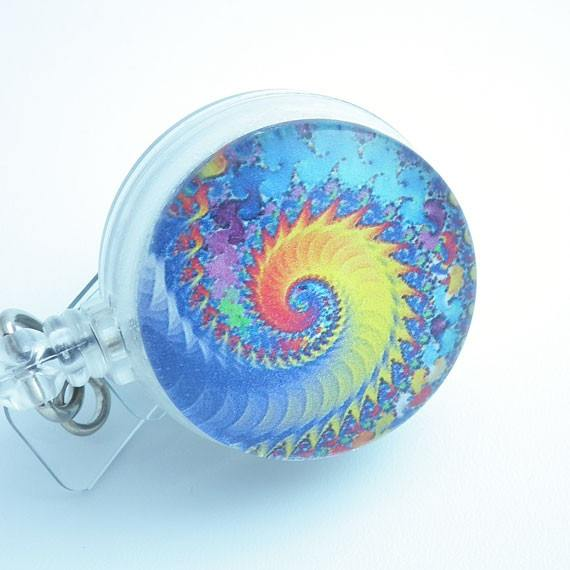 Psychedelic Swirls Yellow and Blue Cabochon - Retractable Badge Reel 148 - Plum Beadacious