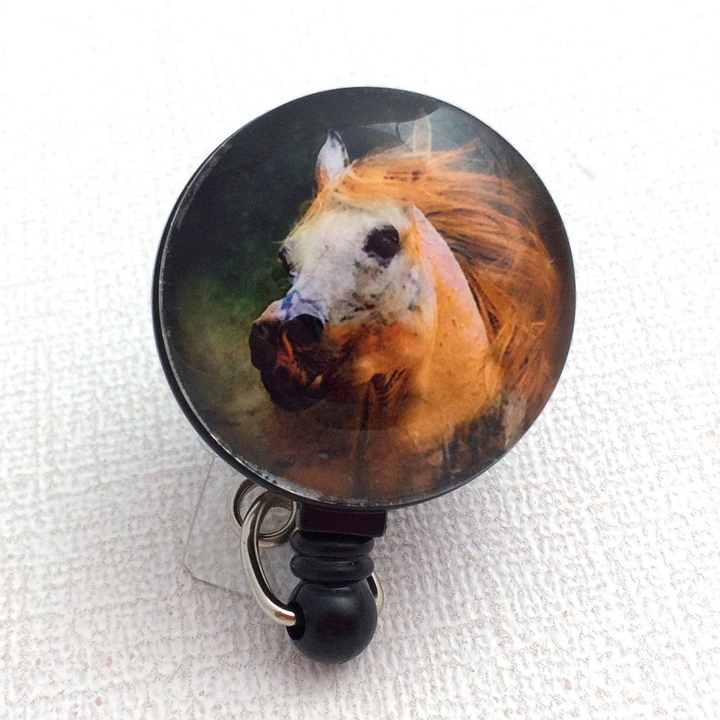 Horse with Red Mane ID Badge Reel - Name Badge Holder 173 - Plum Beadacious