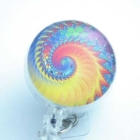 Psychedelic Swirls Yellow Orange Blue Cabochon Retractable Badge Reel - ID Pull 147