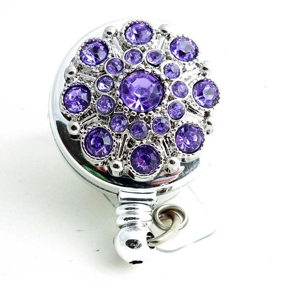 Magnetic Retractable ID Badge Purple Rhinestone Button on Chrome Badge Reel - Plum Beadacious