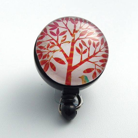 Retractable ID Badge Reel - Red Tree on White - Name Badge Holder 63