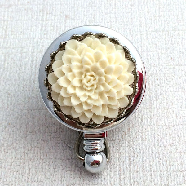 White Flower Badge Reel -  Magnetic Retractable Badge Holder - Plum Beadacious