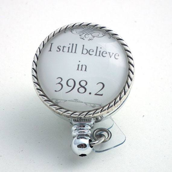 I Believe in 398.2 Badge Reel Retractable ID Badge Holder - 151 - Plum Beadacious  - 1