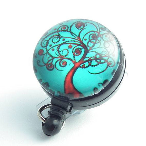 Retractable ID Badge Reel Red Tree of Life - Name Badge Holder 95