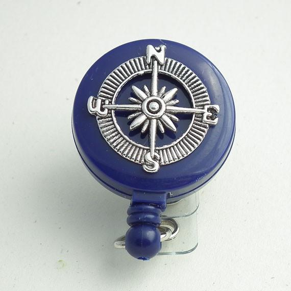 Magnetic Retractable ID Badge Reel Silver Compass on Blue Badge Reel - Plum Beadacious