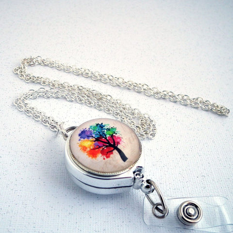 Silver Chain Badge Reel Lanyard - Rainbow Tree - Plum Beadacious