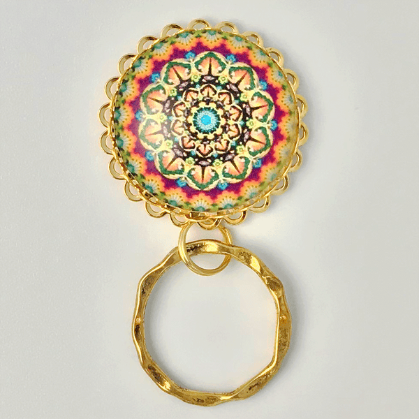Magnetic Eyeglass Holder - Gold Mandala Design - Gold Plated Pendant Holder and Ring - Plum Beadacious