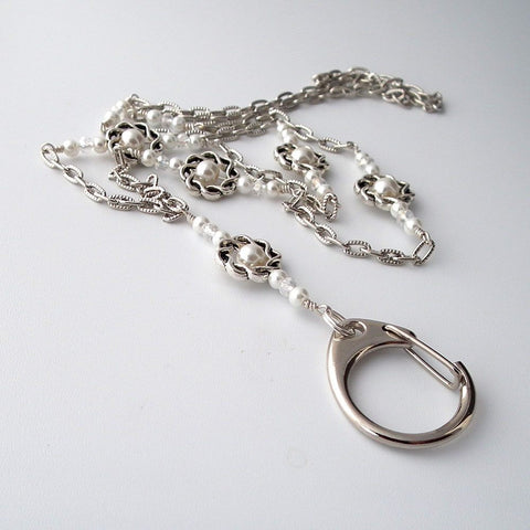 Silver Chain and Pearl ID Badge Lanyard, Silver Hoops and White Glass Pearls