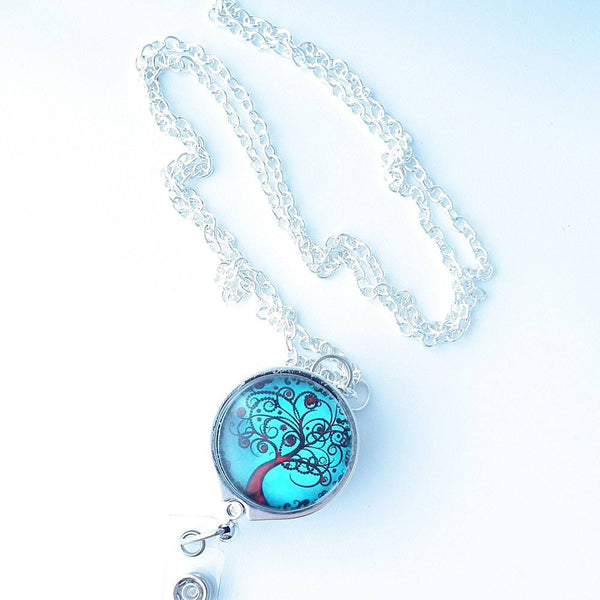 Silver Chain Badge Reel Lanyard - Red Tree of Life on Turquoise Blue Background - Plum Beadacious