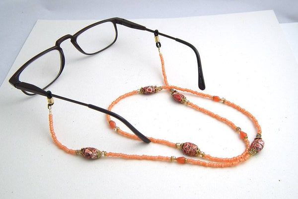 Orange Rust Brown Beaded Eyeglass Chain, Neutral Eyeglass Necklace, Reading Glasses Chain,Eyeglass Lanyard - Plum Beadacious
