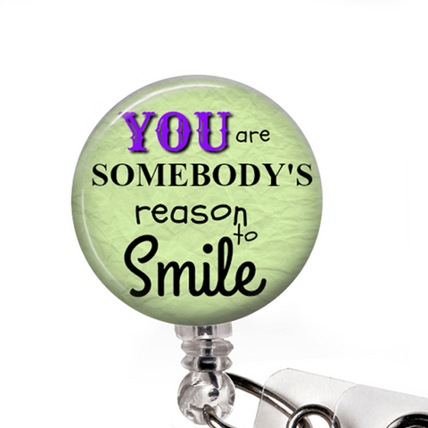 Reason to Smile ID Badge Holder- Green, Inspirational Badge Reel -350 - Plum Beadacious