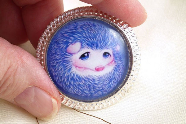Copy of Cute Hedgehog Needle Minder on Silver Pendant Tray with Magnet - Plum Beadacious