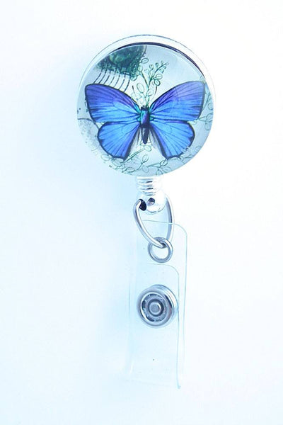 Blue Butterfly on Badge Holder - Retractable ID Badge Reel  211 - Plum Beadacious