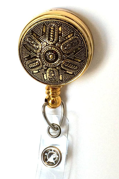 ID Badge Holder - Vintage Metallic Gold Acrylic Button on Gold Badge Reel - Plum Beadacious