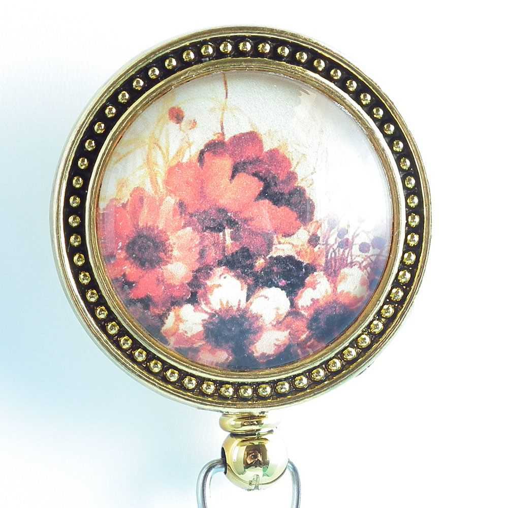 ID Badge Reel - Orange Flowers on Metallic Gold - Flower Badge Reel 255 - Plum Beadacious