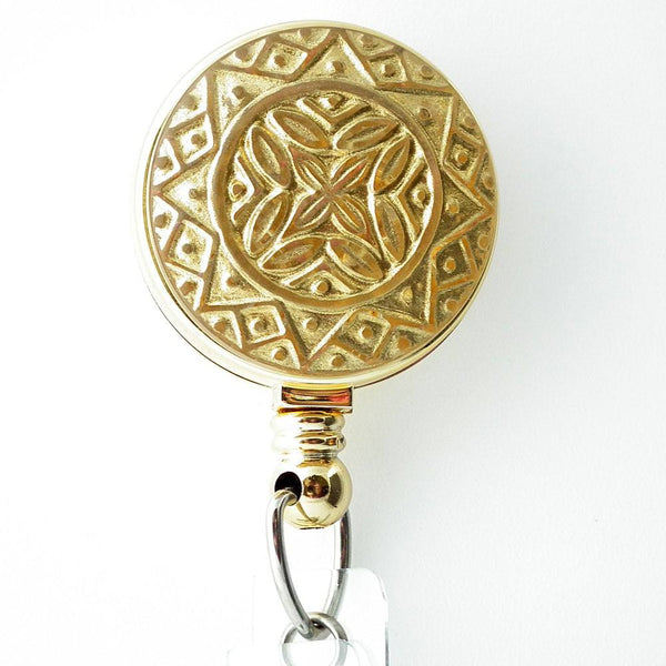 Gold Embellished Badge Holder, Retractable ID Badge Reel 274 - Plum Beadacious