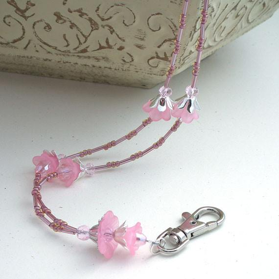 Pretty Pink Lucite Flowers Beaded Lanyard with Breakaway Clasp - Plum Beadacious  - 5