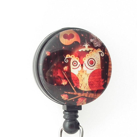 Cute Owl on Black Badge Reel - Bird Badge Reel - 300 - Plum Beadacious  - 1