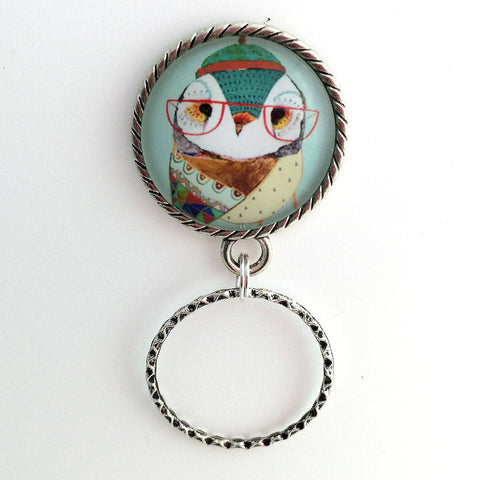 Magnetic Eyeglass Holder - Lady Owl with Glasses - Blue Photoglass Cabochon