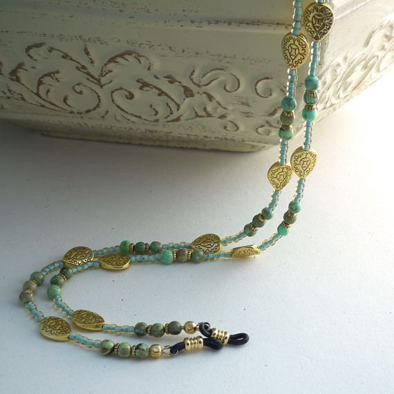 Green Magnasite Eyeglass Chain, Gold Beads, Eyeglass Necklace, Reading Glasses Chain,Eyeglass Lanyard - Plum Beadacious