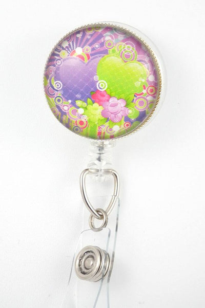 Purple and Green Hearts Photo Glass on Badge Reel  264 - Plum Beadacious  - 2