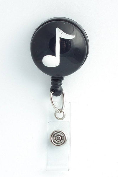 White Music Note  on Black Background - Retractable ID Badge Reel - Name Badge Holder 248 - Plum Beadacious
