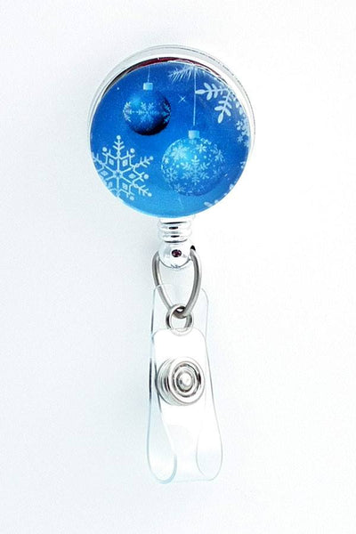 Blue Christmas Ornaments ID Badge Holder - Holiday Badge Reel 307 - Plum Beadacious  - 2