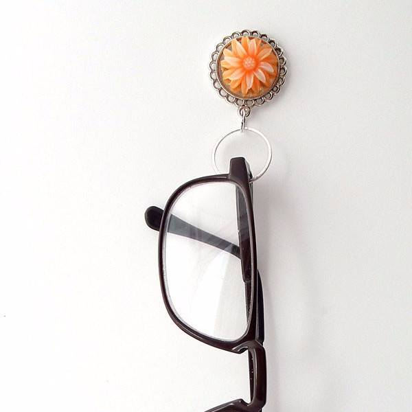 Magnetic Eyeglass Holder - Light Orange Resin Flower Cabochon on Silver Filigree Pendant Tray - Plum Beadacious