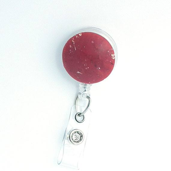 Magnetic Retractable ID Badge Reel Rose Speckled Button on Clear Badge Reel - Plum Beadacious