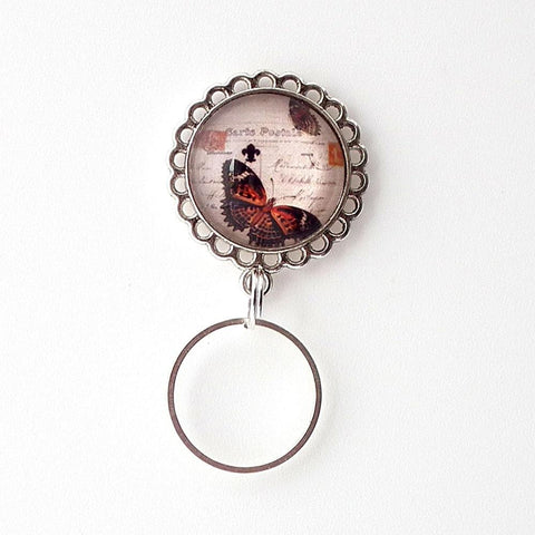 Magnetic Eyeglass Holder - Brown Orange Butterfly on Postcard - Glass Dome Cabochon