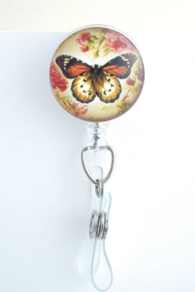Butterfly and Roses Photo Glass on Badge Reel - Name Badge Holder 219 - Plum Beadacious
