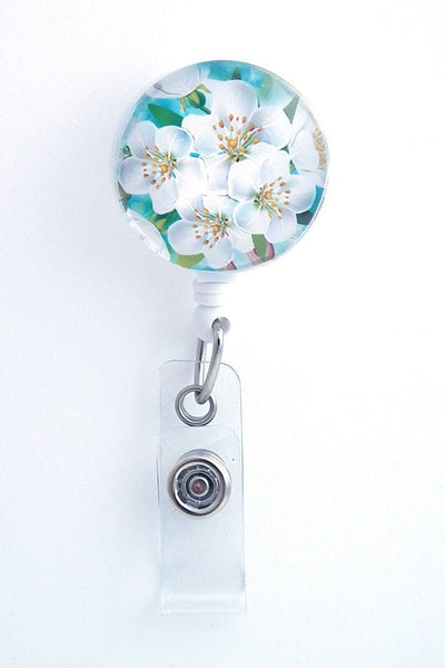White Blossoms on ID Badge Holder, Flower Badge Reel  213 - Plum Beadacious