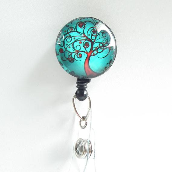 Retractable ID Badge Reel Red Tree of Life - Name Badge Holder 95 - Plum Beadacious